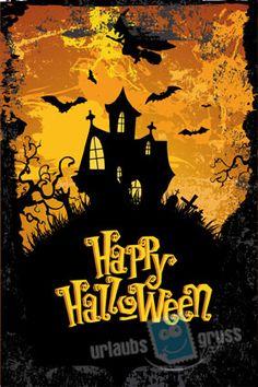 Illustrierte Halloween Postkarte. Alle Urlaubsgruss.com Halloween Vorlagen findet Ihr in unserer Vorlagen Gallerie auf der Urlaubsgruss.com Webseite und den Urlaubsgruss Apps für iPhone und Android
