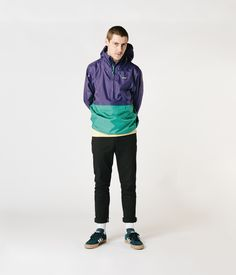 Spring Season Lookbook focusing on fits, new colours and transitional layers. The Purple (and green) split colourway Torrentshell is a perfect mid season jacket