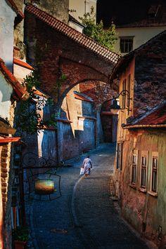 Side Street in Sibiu Romania by Ed Bundy