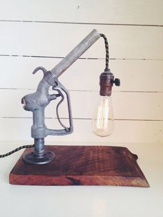 vintage gas pump nozzle lamp industrial automobilia custom light steampunk