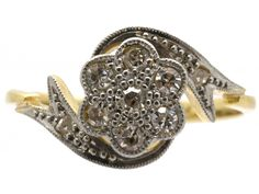 Edwardian Diamond Cluster Ring with Ribbon Sides - The Antique Jewellery Company