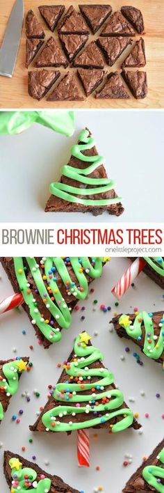 Easy Christmas Tree Brownies!!Baking & Spices 1 box Brownie mix 1 Food colouring, green 1 Sprinkles, small round 1 Star sprinkles, small 1 tub Vanilla icing, white