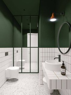 green bathroom Architect emildervish teamed up with evgeniibulatnikov to design Salon Odes in Odessa, Ukraine, whose minimalist bathroom combines bold Bad Inspiration, Bathroom Inspiration, White Bathroom, Small Bathroom, Bathroom Green, Bathroom Ideas, Mirror Bathroom, Modern Bathrooms, Bathroom Vanities