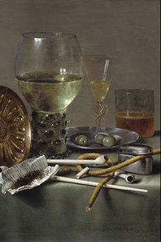 willem claesz heda, still life with glasses and tobacco, 1633 (detail)