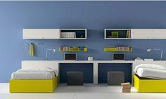 chambre d'ado en jaune et bleu