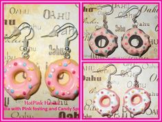 Large Candy Sprinkled Frosted Doughnut Earrings Sweet Silver Plated USA HANDMADE #HOTPINKHAWAII #DropDangle