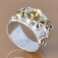 CITRINE CUT 925 SOLID STERLING SILVER EXCLUSIVE RING 5.78g DJR7392 #Handmade #Ring