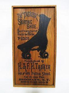 Vintage Victorian Steampunk Roller Skate Shoe Sign Taskers Wood Decor Shop Sign