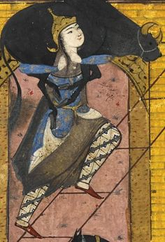 Woman carrying a cow, Persian, 16th century?