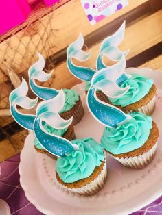 The cupcakes topped with mermaid tails at this Little Mermaid Birthday Party are so cute!! See more party ideas and share yours at CatchMyParty.com #cupcake #mermaid