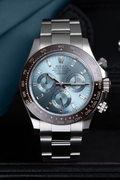 Even among those few who can claim a watch like the Rolex Daytona as their own, those who wear a Daytona with the reference 116506 are still a minority. This platinum luxury watch with the Ice Blue dial and brown ceramic bezel sets visual standards and allows the Daytona to retain its sportiness even as a precious metal version like this. Rolex Watches, Watches For Men, Rolex Blue, Buy Rolex, Rolex Models, Luxury Watch Brands, Rolex Daytona, Nice Things, Brown