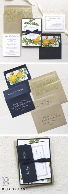 With Mix Of Vintage Florals And Gold Glitter Liner These Yellow Garden Rose Wedding Invitations