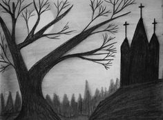 Original Drawing Charcoal Old Church  Signed by MikeMBurkeDesigns, $5.00