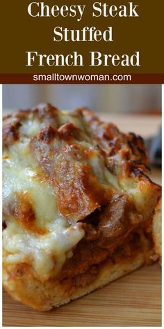 It starts with good crusty French Bread stuffed with perfectly seasoned sauteed steak.  Then this beauty is topped with gooey Mozzarella and buttery Provel cheese.