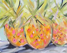 Pineapples painting, abstract, pink and orange