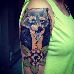 Gentleman Raccoon Tattoo - Aleksandr Miheenko - http://inkchill.com/gentleman-racoon-tattoo/
