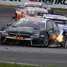 Fuego y potencia en el #MercedesAMG #C63 #DTM de @chrisvietoris #DTMOschersleben #Mercedes #MBcars #MercedesBenz by mbenzespana