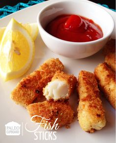 Paleo Fish Sticks: Ingredients: - 1 pound fresh cod - 2 large eggs - 1 1/2 cups almond flour (I use Honeyville brand) - 1/2 cup arrowroot powder - 1/2 tsp. sea salt - 1/4 tsp. ground black pepper - 1/4 tsp. paprika - 3-4 Tbsp. lard/bacon fat or tallow