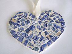 China Mosaic Heart Blue and White Toile  Pique Assiette $25