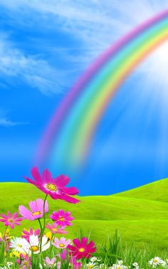 Beautiful Peaceful Blue Sky with a Perfect Rainbow God of Rainbow Love. Wallpaper Nature Flowers, Beautiful Landscape Wallpaper, Flower Background Wallpaper, Beautiful Flowers Wallpapers, Rainbow Wallpaper, Photo Background Images, Beautiful Landscapes, Flowery Wallpaper, Fantasy Art Landscapes