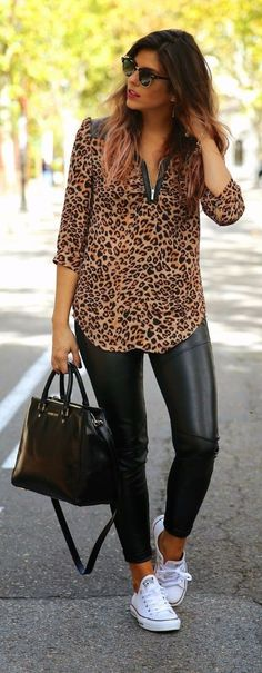 Street Chic - Leopard + Black Leather by TrendyTaste. So want this outfit Mode Outfits, Fall Outfits, Summer Outfits, Casual Outfits, Fashion Mode, Look Fashion, Autumn Fashion, Fashion Trends, Fashion Black