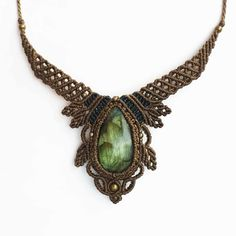 Stunning labradotire macrame necklace The necklace is adjustable with a sliding knot so you can easily change the length. Macrame Necklace, Macrame Jewelry, Turquoise Necklace, Jewelry Necklaces, Crystal Healing Stones, Crystal Beads, Crystals, Sliding Knot, Micro Macramé