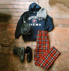 Found at Common Sort - Siena University hoodie, plaid pants, knit toque, Santana Canada boots and Rebecca Minkoff backpack