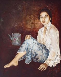 Impressioni Artistiche : ~ Josephine Linggar ~ Indonesian Women, Indonesian Art, Bali Painting, Woman Painting, Manado, Traditional Art, Female Art, Art Sketches, Design Art