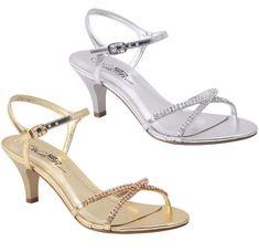 NEW Women's Rhinestone Medium Kitten Heel Dress Sandals w/ Buckled Ankle Strap  #WildRose #KittenHeels
