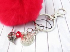 Tree of Life Keychain, Pom Pom Keychain, Angel Keychain, Red Fur Keychain