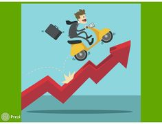 Funny way to represent the ascent to the top. The free prezi template shows a young business man on a motorbike up an arrow. Ideal for all types of prezi presentations.