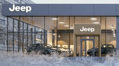 Exterior visualization of Jeep Showroom located in Cracow, PL.Made for Młynarski Architektura. Two different versions. Don't blame for no Jeep in the scene :) Best Used Luxury Cars, New Orleans Plantations, Jeep Concept, Hut House, Office Table Design, Retail Facade, Commercial Street, Showroom Design, Factory Design