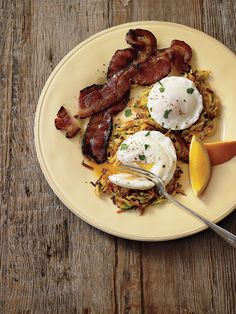 Garden Hash Browns with Poached Eggs and Bacon- hash browns with grated zucchini, carrot, and potato