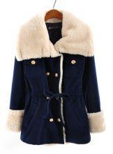 Navy Fur Lapel Long Sleeve Drawstring Buttons Coat $59.68
