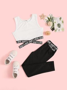 To find out about the Girls Letter Tape Crisscross Tank Top & Leggings Set at SHEIN, part of our latest Girls Two-piece Outfits ready to shop online today! Cute Lazy Outfits, Crop Top Outfits, Kids Outfits Girls, Girls Fashion Clothes, Teenage Outfits, Teen Fashion Outfits, Stylish Outfits, Legging Outfits, Fashion Sets