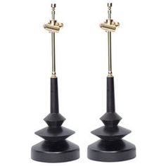 Turned Ebonized Table Lamps  MidCentury  Modern, Contemporary, Metal, Table Lighting by Modern Living Supplies