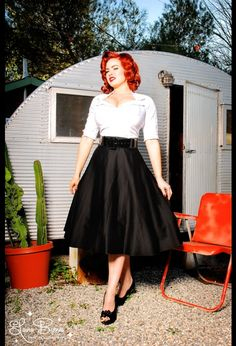Doris Skirt by Pinup Couture in Black Sateen