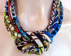 Turquoise necklace african fabric necklace African wax by nad205