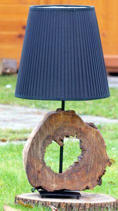 Tischlampen - Große Lampe mit fantastischem Holzfuß - ein Designerstück von AK-DESIGN bei DaWanda