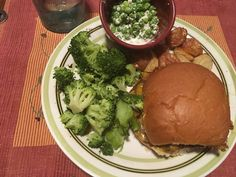 Venison burger, broccoli steamed with butter, peas simmered in half and half, roasted baby potatoes Venison Burgers, Roasted Baby Potatoes, Steamed Broccoli, Preserves, Butter, Meals, Fresh, Vegetables, Food