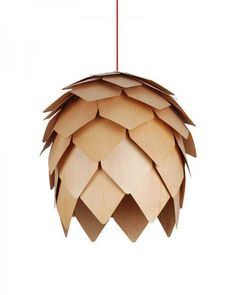 Modern Style Wooden Pendant Light with Pinecone Shape Shade