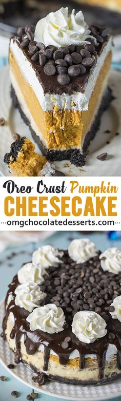 Pumpkin Cheesecake with Oreo Crust Pumpkin Cheesecake is a fluffy, creamy pumpkin cheesecake perfect for Thanksgiving! Easy to make with an Oreo base and beautiful fall flavours! Oreo Crust Cheesecake, Pumpkin Cheesecake Recipes, Pumpkin Recipes, Köstliche Desserts, Chocolate Desserts, Delicious Desserts, Dessert Recipes, Yummy Drinks, Cupcake Cakes