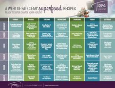 Need to try this!  1 Week Eat-Clean Menu Plan - Pt 2 - Tosca Reno
