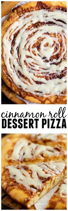 This Cinnamon Roll Dessert pizza will be the BEST dessert that you make! All of the goodness of a cinnamon roll drizzled in a cream cheese glaze!!