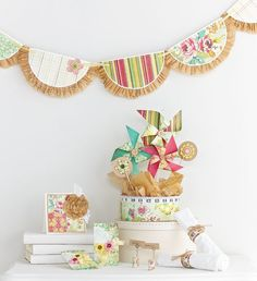 "Pattern paper ""lace"" on bunting, measuring tape napkin ring...Sew Much Fun Party Ensemble by @Julia Stainton"