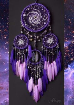 The dream catchers are handmade. Dream catcher mobile Milky Way violet--Inspiration stunning dream catcher ideas to get only pleasant dreams – ArtofitPurple and Pink Feathered Dreamcatcher With Crystal AccentsAnother example of Beautiful Dre Dream Catcher Craft, Dream Catcher Mobile, Purple Dream Catcher, Dream Catcher Boho, Dreams Catcher, Los Dreamcatchers, Beautiful Dream Catchers, Diy And Crafts, Arts And Crafts