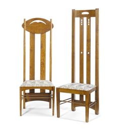 Charles Rennie Mackintosh (1868-1928) - Side Chairs. Oak with Upholstered Seats. Designed for the Argyle Street Tearooms and Miss Cranston's Ingram Street Tearooms. Circa 1900. 140cm and 150cm.