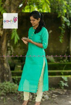 Salwar Designs, Kurti Neck Designs, Kurta Designs Women, Dress Neck Designs, Blouse Designs, Kalamkari Kurti, Simple Kurta Designs, Kurti Embroidery Design, Kurti Patterns