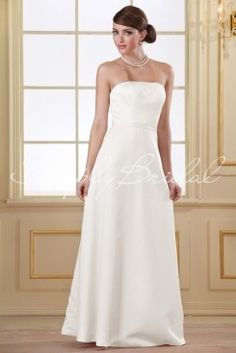 Wedding Dress by SimplyBridal. This simple strapless satin gown is classic and elegant. The straight across neckline and princess line bodice sit atop a luxurious A-line skirt. Perfect for every bridesmaid, the overall silhouette is great on all shapes and size. This is a great choice . USD $99.99