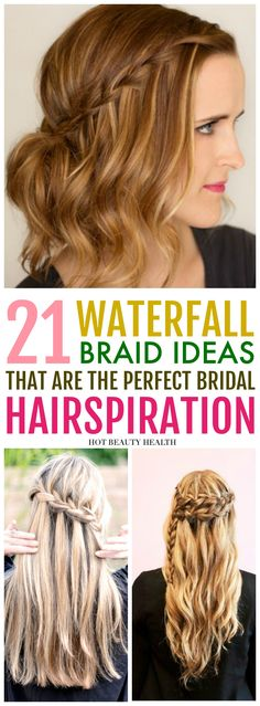 21 easy waterfall braid hairstyles you'll love. Learn how to do styles with braids, ponytail, updos, and curls. These diy hair ideas are great for bridesmaids at weddings, for prom, and even casual styles for everyday. Click pin for the list of step by step tutorials! Hot Beauty Health #hairstyles #hair #hairtutorials